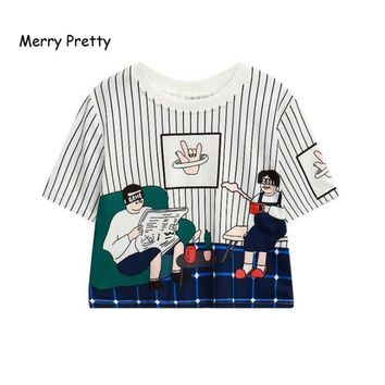 MERRY PRETTY New Arrival Women Casual Striped Tops Character Printed O-Neck Crop Top Harajuku Summer Short Sleeve Funny T-Shirts