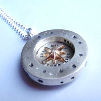 Pablo Valencia-  Sterling Silver and 10K Gold Junior Celestial Compass Engraved Necklace
