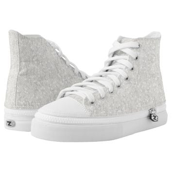 White Glitter Confetti Printed Shoes