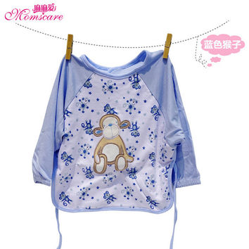 Momscare Animal Embroidery Waterproof Baby Feeding Smock Kids Anti-dress Covers Infant Painting Apron Boys Girls Overclothes