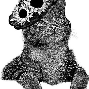 cat printable sunflower hat original printable cat art print png clipart download digital image graphics pets animal black white art