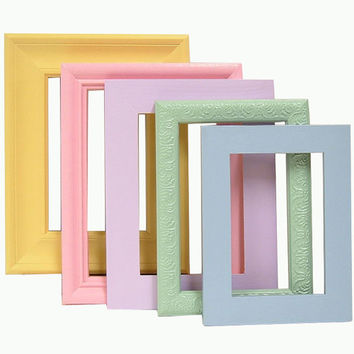 Picture Frames Colorful Pastel Frame Set by MountainCoveAntiques