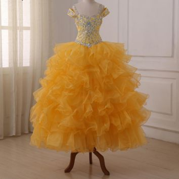 Flower Girl Dresses Ruffled Organza Beads Sequin Crystals Floor Length Ball Gowns Kids Pageant Dress