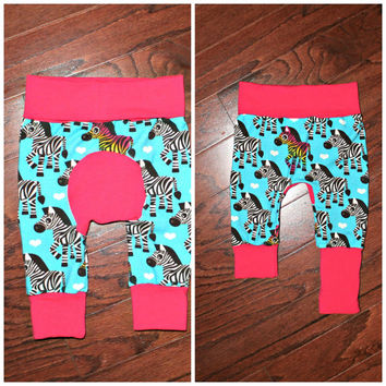 Zebra Miniloones 3-12 months with hot pink bum, waist, and cuffs, cloth diaper pants