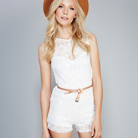 Lace Illusion Sweetheart Romper | Wet Seal