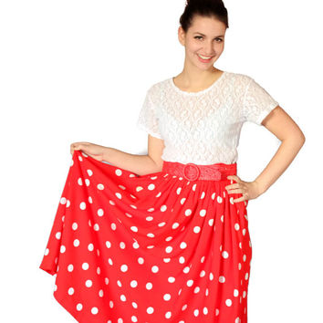 1970s swing polka dot skirt by Chaus. Vintage red white skirt. Pleated waist. Mad Men fashion. Cottage chic. Country style