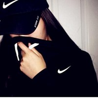 NIKE Sports Hoodies Couple Simple Design Jacket Black