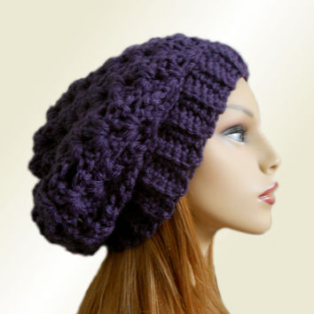 PURPLE SLOUCHY HAT Crochet Knit Chunky Slouchy Beanie Wool Slouch Beany Dark Purple Slouchy Women Hats Accessories Teen Winter Hat Gift Idea