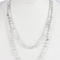 White Natural Stone Bead Extra Long Wraparound Necklace