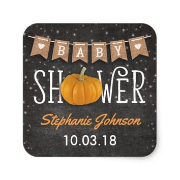 Fall Pumpkin Rustic Chalkboard Baby Shower Square Sticker