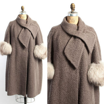 Vintage 60s COAT / 1960s Taupe Wool Winter Swing Coat Arctic Fox Fur Trim