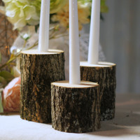 Log Candle Set - Tapered Candle Holder