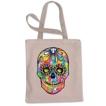 Sugar Skull Glitter Face Shopping Tote Bag
