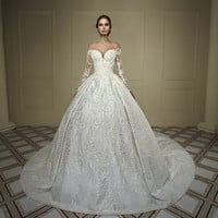 New Luxury Ball Gown Princess Wedding Dresses Gelinlik Long Sleeve