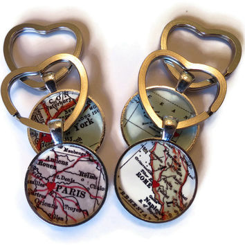 Custom keychain with Heart Key Ring, Personalized Keychain Charm, Heart on Custom Location for men and  women, Mother's Day Gift