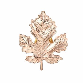 Korean Women Maple Leaf Corsage Brooch Collar Pin Jewelry GD