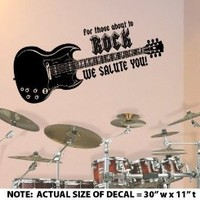 """For Those About To Rock"" LARGE - Wall Décor Sticker Vinyl Decal - 3 FREE BONUS Guitar Silhouette DECALS"