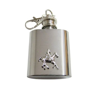 Horse Riding Polo Player 1 Oz. Stainless Steel Key Chain Flask
