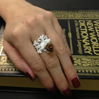 Floral Scrolled Filigree White Ring Adjustable by AmbivalentRelics