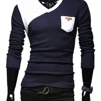 V-Neck Color Block Long Sleeves T-Shirt