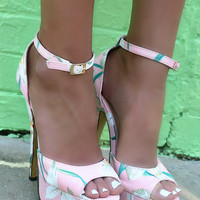 Tropical Paradise Tropical Floral Print Pink High Heels
