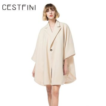 Women Casual Solid Coat Women Fashion Bat Trench Winter Autumn Warm Cotton Women Casual Fashion Wear