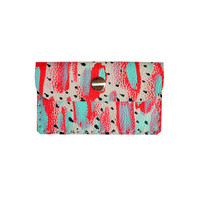 Red and Mint Polka Dot Wallet, Coin Purse, Neon Leather Pouch, Business Card Holder | Boo and Boo Factory - Handmade Leather Jewelry