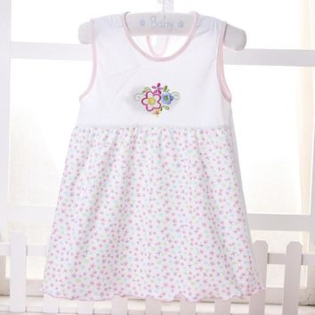 Summer Random Color Baby leeveless Printed A-Line Dress One Piece Mini Dress Cute Infant Baby Girls Dress 1-2Y S2