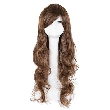 Cosplay Wig Fei-Show Synthetic Heat Resistant Fiber Long Curly Inclined Bangs Hair Women Halloween Costume Cos-play Hairpiece