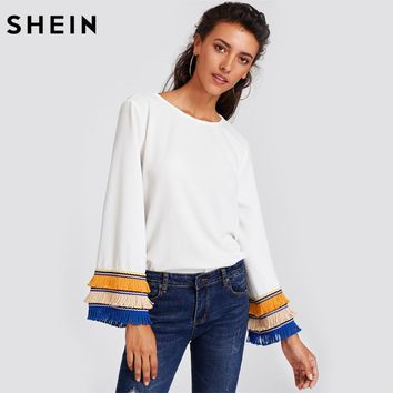 SHEIN Embroidery Tape and Fringe Bell Sleeve Textured Blouse Women White Blouse Womens Long Sleeve Tops
