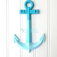 20% OFF Ombre Blue Cast Iron Anchor- Nautical Decor, Nautical Bathroom, Beach Decor, Beach Bathroom, Coastal Decor, Anchor Decor