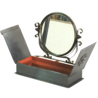 Jewelry box & mirror, antique make-up mirror, vintage mirror and chest - Edit Listing - Etsy