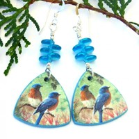 Bluebird Earrings, Lightweight Polymer Clay Dangles Aqua Czech Glass Handmade Jewelry for Women