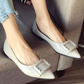 Spring new style women's shoes with square button flat heel and flat flat flat toe shoes