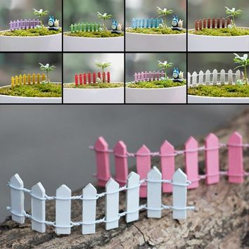 5Pcs New Beauty Wooden Palisade Fence Home Garden Ornament Accessory Plant Pots Fairy Scenery Décor