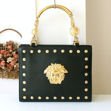 7922b72c4f17 Versace Bag Gianni Versace Couture Leather Black Metal Medusa Vi