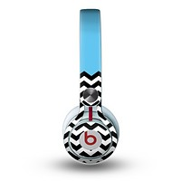 The Solid Blue with Black & White Chevron Pattern Skin for the Beats by Dre Mixr Headphones