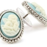 The Vatican Library Collection Silver-Tone Blue Angel Cameo Button Earrings