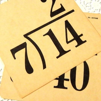 Vintage Divison Flash Cards. Paper Ephemera. Vintage School. Math. Vintage Numbers. Junk Journal. Scrapbooking. Banner. Teacher Classroom.