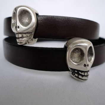 brown  Leather Bracelet with skull zamak