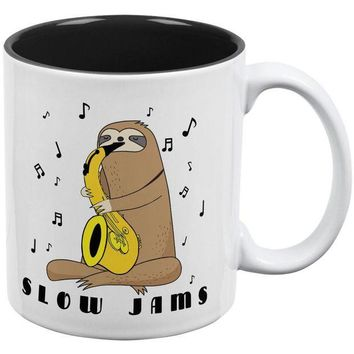 DCCKJY1 Sloth Slow Jams Funny Pun Saxophone All Over Coffee Mug
