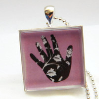 Pendant Necklace , Pink Hand Glass Art Pendant , Picture Pendant , Photo Pendant