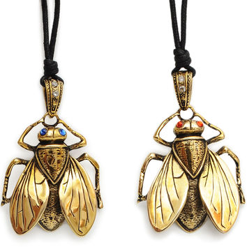Horse Fly Insect Handmade Brass Necklace Pendant Jewelry
