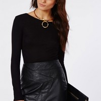 Missguided - Long Sleeve Jersey Scoop Back Top Black