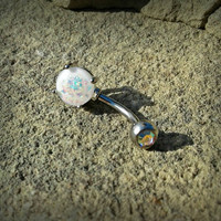 Glitter Opal White Belly Button Ring Navel Ring Belly Piercing 14ga 316L Surgical Stainless Steel Body Jewelry