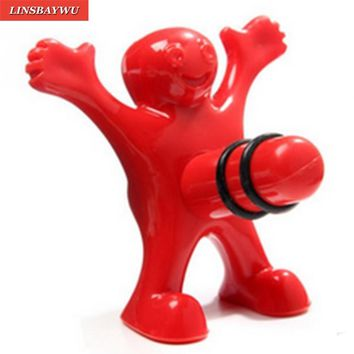 1Pc Unique Funny Happy Red Man Guy Wine Stopper Bottle Plastic Novelty Bar/home Tools Plug Perky Creative Gifts 2017 Hot Sale