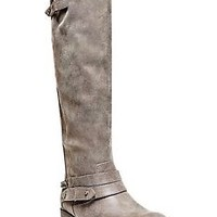 MADDEN GIRL CANYON WIDE CALF GRAY LEATHER KNEE HIGH RIDING BOOTS SIZE5M MSRP$99.