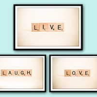 Scrabble Wall Art, Live Laugh Love, Word Art, Wall Words,Wall Decor,Home Decor,Scrabble Wall Letters, Scrabble Photo Gift,Alphabet Art Print