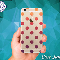 Ombre Gradient Polka Dot Pattern Cute Tumblr Inspired Custom Crystal Clear Transparent Rubber Case Cover For iPhone 6 and iPhone 6 Plus +