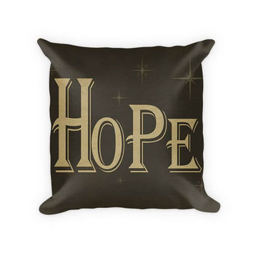 Hope I Woven Cotton Throw Pillow
